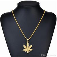 akçaağaç yaprağı kolye gümüş toptan satış-Kadın Erkek Için uzun Altın Zincirler Hip Hop Takı Gümüş / Altın Kaplama Maple Leaf Kolye Küba Zincirler Buzlu Out Zincir Bling Kolye Hediye H472F