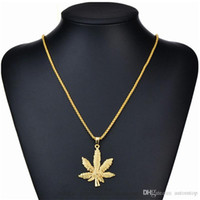 Wholesale long chains for men resale online - Long Gold Chains For Women Men Hip Hop Jewelry Silver Gold Plated Maple Leaf Pendant Cuban Chains Iced Out Chain Bling Necklace Gift H472F