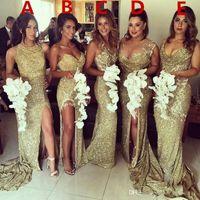 vestido de damas de honra do estilo da sereia do ouro venda por atacado-2018 ouro cintilante 5 estilos sheer voltar vestidos de dama de honra da sereia sem mangas plus size maid of honor vestidos de casamento vestidos de festa