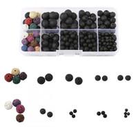 Wholesale Bead Making Kits - Lava Bead Kit Black Colored Loose Volcanic Lava Rock Stone Beads Balls Kit Wholesale for DIY Jewelry Making D835L