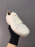 Wholesale male soles - New leather rivet male couple shoes, luxury designer fashion casual shoes sizes 35 -46 small white shoes red soles