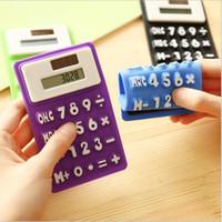 Wholesale pocket calculators - Mini Calculator Foldable Silicone Calculator Solar Energy Candycolor Creative Magnetic Student Card Calculadora School Office Use Tool