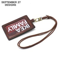 Wholesale Badge Cases - Badge Holder Top layer leather Retractable Lanyard Identity name Student card case Credit Bank Neck Strap Card Bus ID Holders