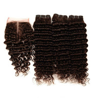 Wholesale human hair chocolate color resale online - Peruvian Dark Brown Human Hair Weave Bundles with Closure Deep Wave Wefts with Closure Chocolate Brown Lace Closure x4 with Weaves