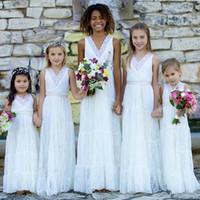 Wholesale long dresses for graduation cheap - Romantic Country Style Boho Lace Flower Girls Dresses White V neck Sheath Designer For Weddings Juniors Bridesmaids Cheap Long