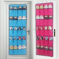 Wholesale organize homes - 125*45cm Newest Behind Doors Storage Bag 20 Pockets Non Woven Hanging Home Shoes Organizing Bag with Hooks Space Saver 4 Color WX9-171