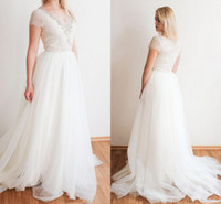 Wholesale sexy diamond lace wedding dress resale online - Vintage Lace Tulle Wedding Dress with Short Sleeves Bling Diamond Beads V neck Ivory Bridal Gowns Fitting vestidos de novia Customize