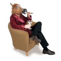 ingrosso maschera di cavallo nera-Hot Selling Brown / bianco / nero Horse Head Novità Latex Rubber Horse Mask Funny Animal Mask Costume di Halloween Gangnam Style Drop