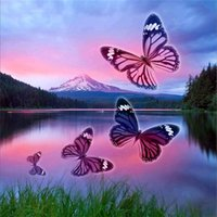 Wholesale animal scenery - Diamond embroidery scenery butterfly fly lake diy diamond painting cross stitch kit resin full round diamond mosaic home decoration yx4300