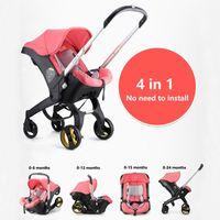 bebek arabaları puset toptan satış-Arabası Buggy Bebek Araba Koltuğu Bebek Arabası 3 in 1 Bassinet Cradle Tipi Bebek Arabası Sepeti Araba Seyahat Sistemi 4 1