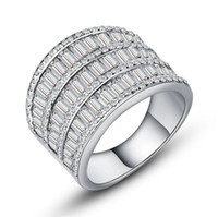 Wholesale wide white gold ring for sale - Group buy Victoria Wieck Luxury Jewelry Wide Ring for Women Sterling Silver White Gold Plated Princess White Topaz CZ Diamond Party Wedding Rings