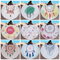 Wholesale beach dreams - Dream Catcher Beach Towel 150cm 28 Styles Microfiber Picnic Throw Blanket Dreamcatcher Yoga Mat With Tassels Swimming Sports Towel OOA5380