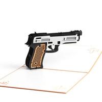 kirigami partei großhandel-3D Pop-up-Karte Postkarten Abschlussfeier Einladung Papier Laser Schneiden Vintage Handgemachte Kirigami Gun Grußkarten Freies Verschiffen