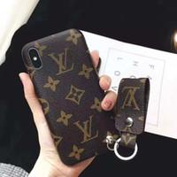 nexo iphone al por mayor-Marca de lujo PU de cuero caja del teléfono para iPhone 6 6s 7 8 Plus X XS MAX XR Caso de la contraportada con un cordón corto