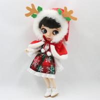 bebek kış toptan satış-Blyth doll için buzlu bebek Noel kostüm kış kıyafetler elk şapka beyaz gömlek kırmızı etek