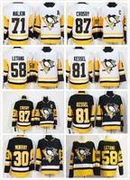 malkin siyah buz mayo toptan satış-Erkekler Buz Hokeyi Pittsburgh Formalar 58 Letang 59 Jake Guentzel 87 Crosby 81 Kessel 71 Malkin 30 Murray SARI BLACK Schneider