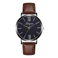 круглые мужские часы оптовых-Mens Watches Top  Quartz wristwatches Men Leather Band Analog Round Wrist Watch Men Exquisite Watches