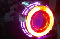 lente xenon universal venda por atacado-2,8 polegadas Universal Car Projector Light Kit Lente 6000K White Xenon Bulb Dual Angel Eyes