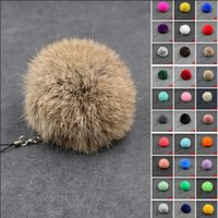 Wholesale cell phones for kids for sale - 30Colors cm Fluffy Lovely Genuine Rabbit Fur Ball Plush Key Chain for Car Cell Phone Key Ring Bag Pendant Keychain AAA681