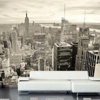 nuevos fondos de pantalla de fondo al por mayor-Custom Mural European Retro Building Mural Dormitorio Sala de estar TV Backdrop Nueva York Blanco y negro City Non-woven Wallpaper 3D