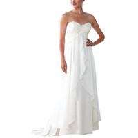 vestidos de playa para embarazadas al por mayor-Vestidos de novia blancos 2018 Mujeres de maternidad Chiffon de playa con encaje Apliques Tallas grandes Vestidos de boda embarazadas Vestido a medida