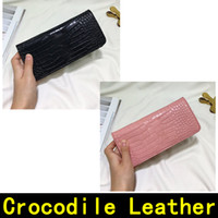 Wholesale cowhide wallet zipper for sale - Saint Crocodile Pattern Wallet Original Cowhide Gold buckle Genuine Leather Designer Wallet high quality Luxury Women Wallets come with BOX