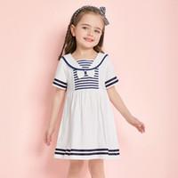 ingrosso vestito blu dalla principessa 3t-Summer Kids Princess Skirt Blue Stripe Bow Blue Navy Collar School Style Girl Dress Cotton Wear