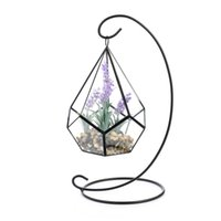 Wholesale l shaped vase for sale - Group buy Artificial Flower Plant Vase Set Tears Shape Glass Polyhedron Geometric Terrarium Ornament Hung with Large Metal Stand Centerpiece Vase