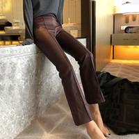 siyah alyans pantolon kadınlar toptan satış-Kadınlar Için PU Deri Pantolon Yüksek Bel Siyah Ayak Bileği Uzunluk Flare Pantolon Kadın Sonbahar Moda Giysileri