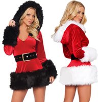 Wholesale woman red lingerie costume for sale - Group buy New Lady Hooded Dress Fur Lingerie Costumes Sexy Performance Christmas Winter Clothing White Red Dresses For Women