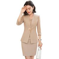 ofis kadınları için resmi elbiseler toptan satış-2018 Office Lady Kadınlar İş Tek Elbise Çalışma Üniforma Mizaç Kol Blazer + Elbise Kalite Biçimsel Suits