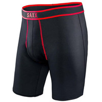 Wholesale Long Boxers - Saxx Mens Pro Elite Long Leg Fly Underwear - Black Red,Black - size XS,L,2XL&North American Size Free shipping
