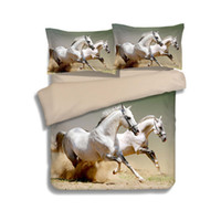 Wholesale horse bedding sets full size online - Galloping White Horses Animal D Printed Comforter Bedding Set Quilt Duvet Cover Bedclothes Twin Full Queen King Size Adult Home