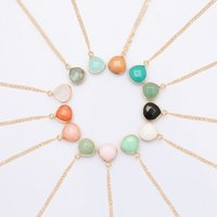 Wholesale long agate pendant resale online - Natural Stone Pendant Necklace Women Luxury Jewelry Long Choker Necklace Faceted Agate Crystal Stone Necklace