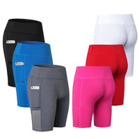 yoga spor salonu şortları toptan satış-Seksi Cep Spor Kadınlar için Şort Sıkıştırma Spor Sıkı Atletik Giyim Yoga Spor Pantolon Koşu Legging Kısa