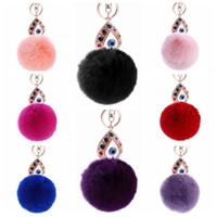 Wholesale rabbit hair handbags for sale - 11 Colors cm Women Rabbit Hair Fur Ball Keychain Water Drops Eyes Girl Handbag Accessories Key Chain Pompom Bag Accessory CCA9033
