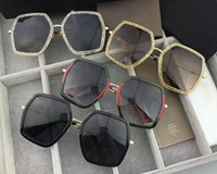 Wholesale full color signs - Luxury Brand Designer 0106 Sunglasses Women Fashion Polygonal Frame Mixed Colour Sun Glasses Summer Retro For Ladies Honeybee Sign on Legs