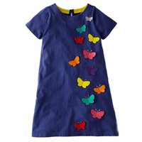 Wholesale baby girl casual clothing - Children Butterfly Princess Clothing Dinosaurs Printed Summer Baby Clothing Cotton Kids Dresses for Girls Party Dress Kids Clothing
