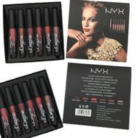 Wholesale nyx lip lingerie sets for sale - Dropshipping NYX Colors Lingerie Liquid lipstick lip gloss kit set nyx Luxury Velvet Matte Nude Lipsticks makeup lipgloss Cosmetic