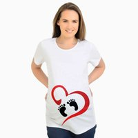 Wholesale funny pregnancy t shirt resale online - Fashion Tops for Pregnant Women Short Sleeve Maternity Tops with Print Footprint Tees Funny Pregnancy T shirts Plus Size Y028