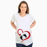 t-shirts enceintes drôles achat en gros de-Hauts de mode pour les femmes enceintes à manches courtes Tops de maternité avec impression Tees T-shirts de grossesse drôle Plus la taille Y028