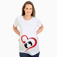 ingrosso camicia di maternità per le donne in gravidanza-Top moda per le donne incinte Top maternità manica corta con impronta di stampa Tees T-shirt gravidanza divertente plus size Y028