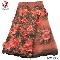 Wholesale tulle yard wholesale - 3D Appliqued Lace African Lace Fabric Good Quality French Lace Fabric 5 Colors Tulle Net Laces Fabrisc 5 Yards Per Lot YJW-30