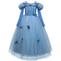 Wholesale Costume Children Cinderella - Fantasy Cinderella Princess Dress Girl's Dresses For Baby Kids Role-play Christmas Costume Children Kids Girls Party Dress Up