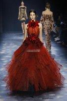 weinlese kleidung großhandel-Marchesa Vintage Ballkleid Formale Abendkleider Burgund Tüll Sheer High Neck Rüschen 3D Blumen 2018 Lange Festzug Prom Kleider