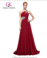 284129efbfc5 Grace Karin Long Evening Dress Chiffon Formal Prom Dresses Una spalla Abiti  da sera eleganti Abiti da festa 2017 vestidos