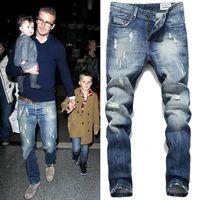 Wholesale Mens Fleece Jeans - Fashion mens ripped jeans 28-42 beckham straight jean for men large size Button Fly denim pants