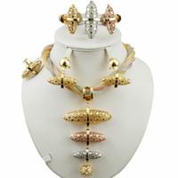 grandes conjuntos de jóias traje de ouro venda por atacado-Conjunto de jóias de noiva super qualidade africano grande conjuntos de jóias melhor qualidade traje conjunto de ouro mulheres colar de casamento conjuntos