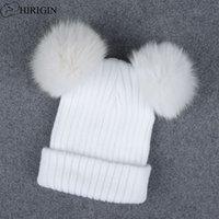 örgülü bere şapkaları toptan satış-1 adet Şapka Kadın Kış Sıcak Kadınlar Için Şapka Caps Tığ örgülü Örgü Beanies Şapka Sıcak Kap Hakiki Kürk Pom Güzel Skullies