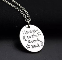 Wholesale Family Christmas Sweaters - Letter Pendant Necklaces Silver I Love You To The Moon & Back For Mom Sister Family Word Pendant Link Chain Sweater Necklace Christmas Gifts